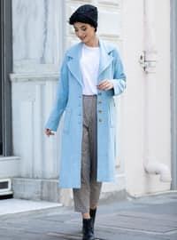 Blue - Unlined - Shawl Collar - - Coat