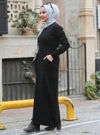Black - Unlined - Crew neck - Acrylic - - Knit Dresses