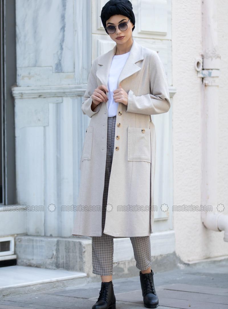 Beige - Unlined - Shawl Collar - - Coat