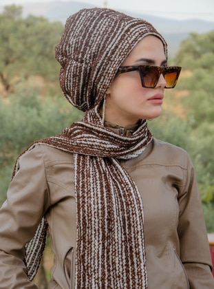 Brown - Printed - Acrylic - Instant Scarf