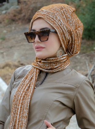 Tan - Printed -  - Instant Scarf