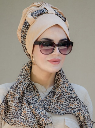 Beige - Printed - Plain - - Viscose - Instant Scarf