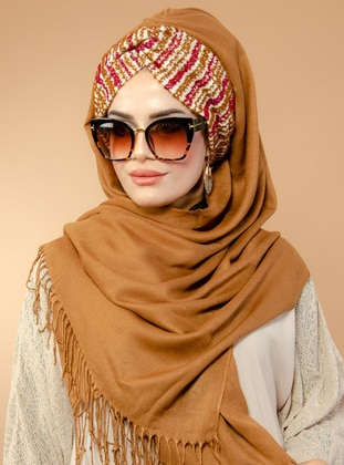 Tan - Printed - Plain -  - Viscose - Instant Scarf