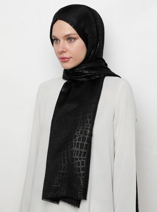 Black - Printed - Jacquard -  - Shawl