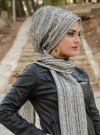 Gray - Printed -  - Instant Scarf