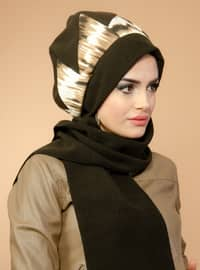Brown - Printed - - Instant Scarf