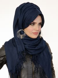 Navy Blue - Plain -  - Viscose - Instant Scarf