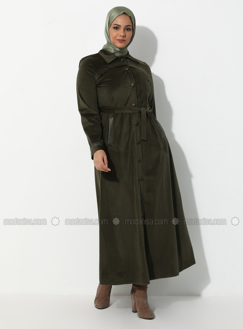 Khaki - V neck Collar - Unlined - Plus Size Abaya