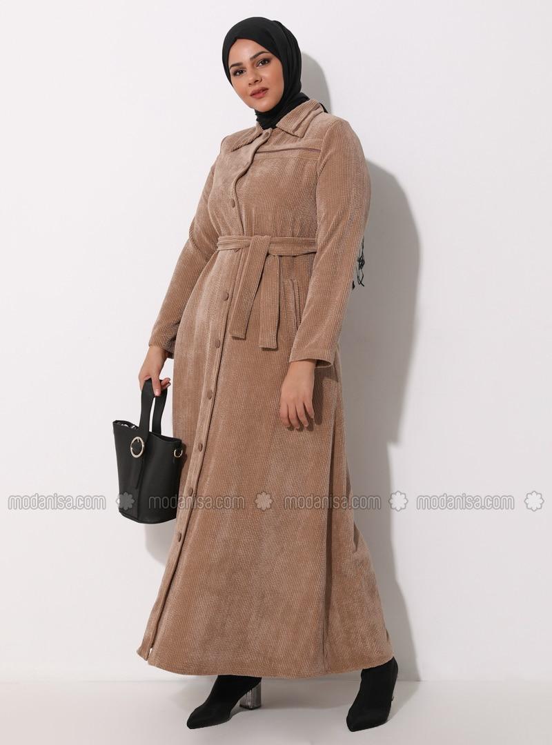 Mink - V neck Collar - Unlined - Plus Size Abaya