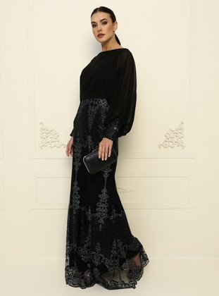 Black - Black - Fully Lined - Crew neck - Modest Evening Dress