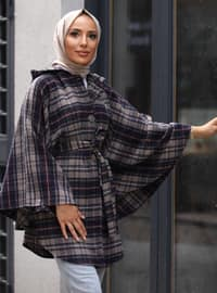 Navy Blue - Checkered - Unlined - Cotton - Poncho