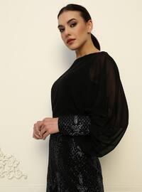 Black - Black - Fully Lined - Crew neck - Modest Evening Dress