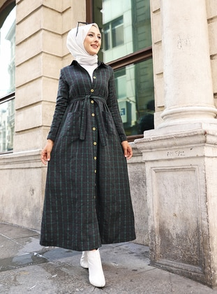 Anthracite - Emerald - Plaid - Point Collar - Unlined -  - Dress
