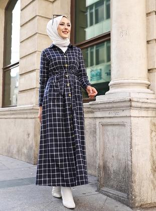 Ecru - Navy Blue - Plaid - Point Collar - Unlined -  - Dress
