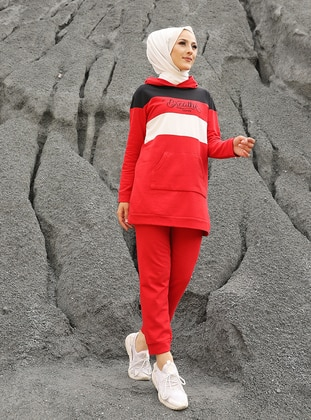 Red - Cotton - Tracksuit Set