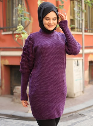 Purple - Polo neck - Unlined - Knit Tunics
