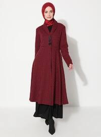 Maroon - Unlined - V neck Collar - Acrylic - Cotton - Topcoat