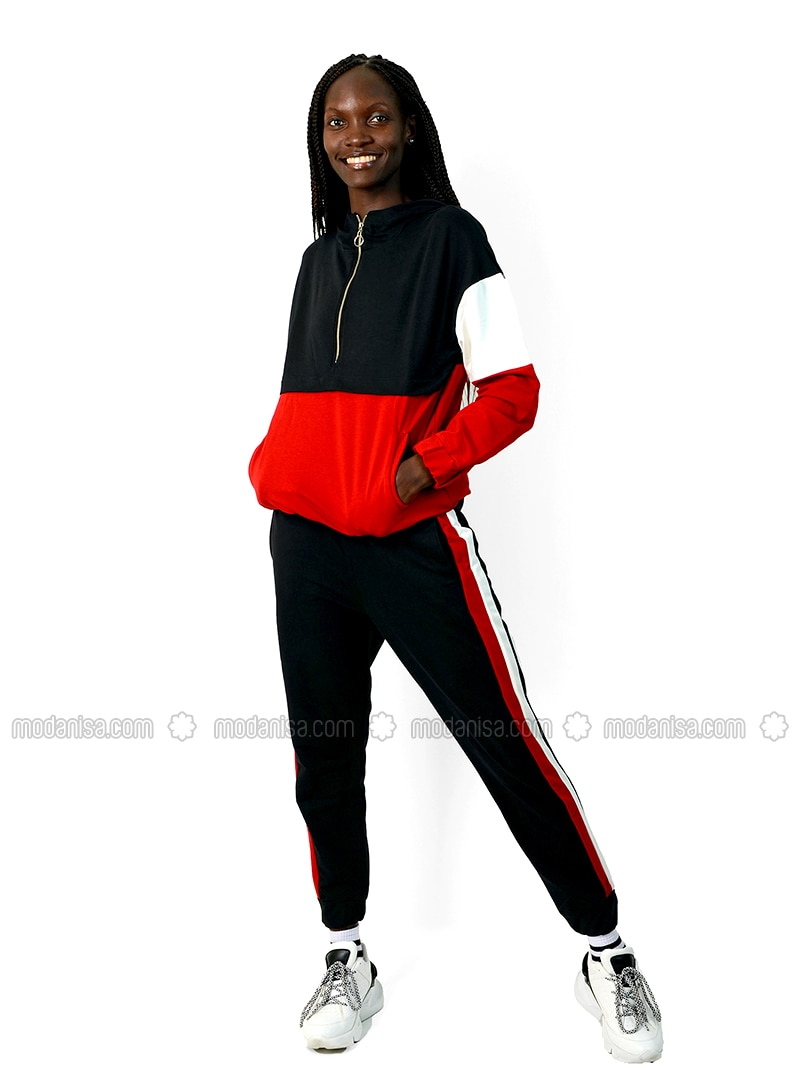 Red - Black -  - Tracksuit Set