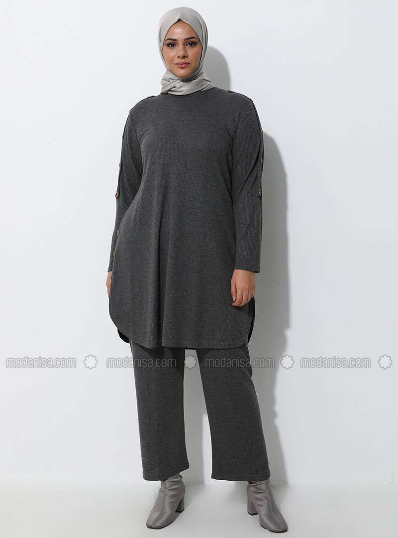 Smoke - Unlined - Viscose - Plus Size Suit