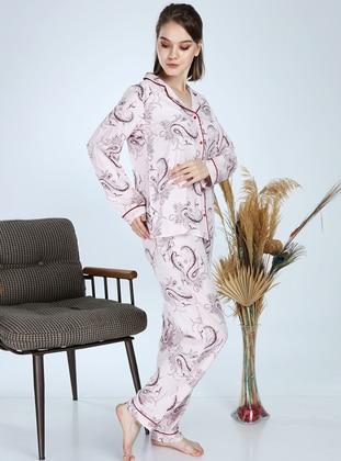 Ecru - Shawl Collar - Multi -  - Pyjama Set