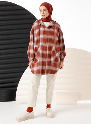 Terra Cotta - Checkered - Unlined - Acrylic - - Topcoat