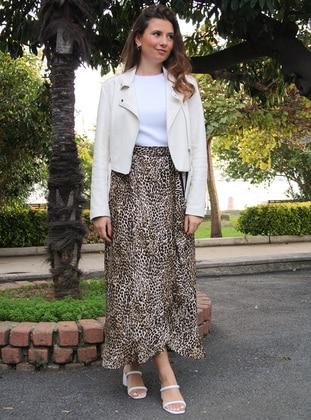 Brown - Leopard - Unlined - - Skirt