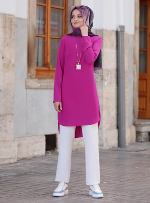White - Ecru - Fuchsia - Unlined - Crepe - Suit