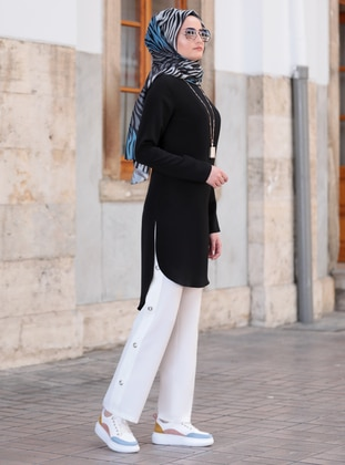 White - Black - Unlined - Crepe - Suit