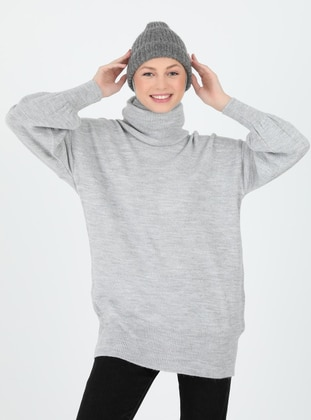 Gray - Polo neck - Unlined - Knit Tunics