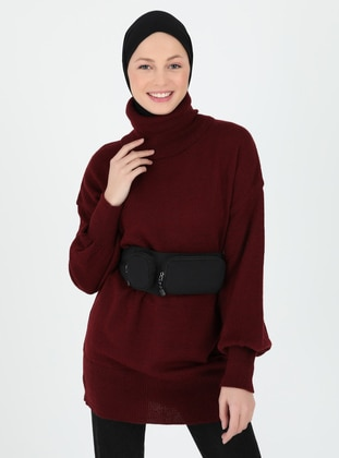 Maroon - Polo neck - Unlined - Knit Tunics