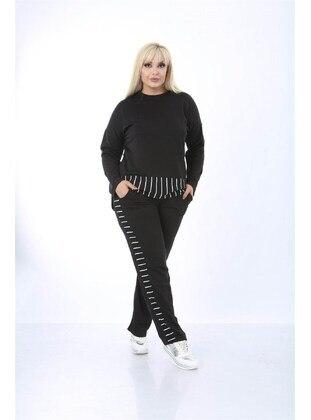 Black - Plus Size Tracksuit - MJORA