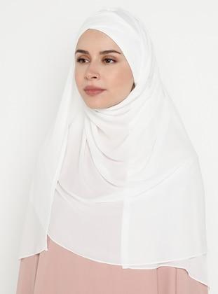 White - Ecru - Plain - Pinless - Instant Scarf