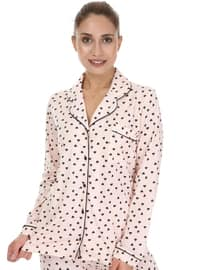 Pink - Shawl Collar - Multi -  - Pyjama Set