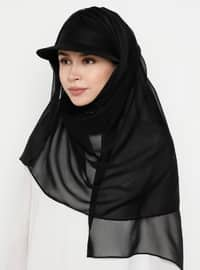 Black - Plain - Pinless - Instant Scarf