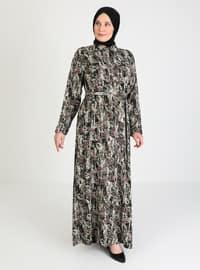 Khaki - Multi - Unlined - V neck Collar - Plus Size Dress