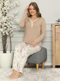 Camel - Brown - Caramel - Crew neck - Multi - - Pyjama Set