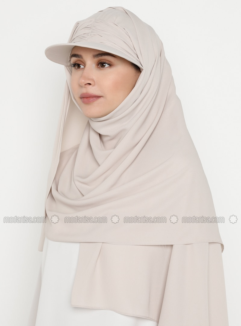 Beige - Plain - Pinless - Instant Scarf