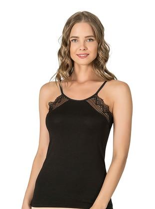 Black - Modal -  - Undershirt - Özkan İç Giyim