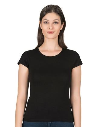 Black - Viscose - Undershirt - Özkan İç Giyim