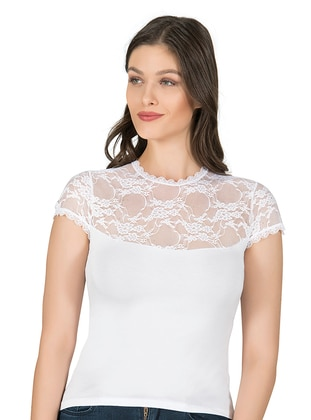 White - Viscose - Undershirt - Özkan İç Giyim