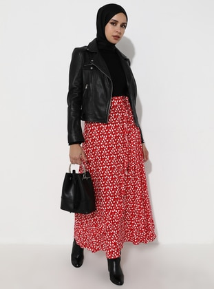 Red - Heart Print - Unlined - Viscose - Skirt