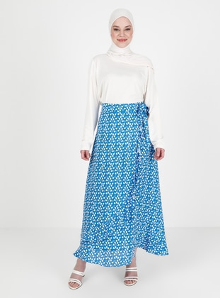Blue - Heart Print - Unlined - Viscose - Skirt