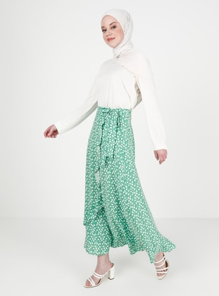 Green - Heart Print - Unlined - Viscose - Skirt
