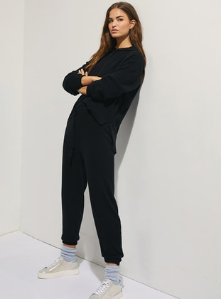 Black -  - Viscose - Tracksuit Set