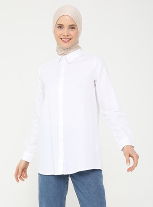 White - Point Collar - Blouses - Everyday Basic