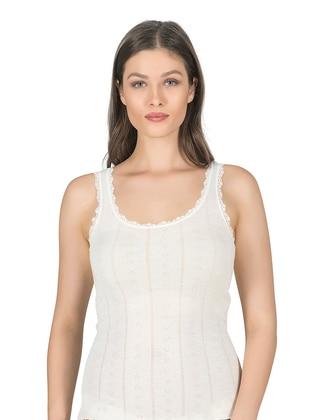 Ecru - - Undershirt - Özkan İç Giyim