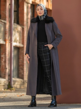 Gray - Fully Lined - V neck Collar - Wool Blend - Coat
