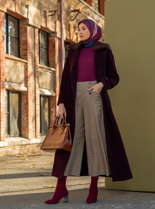 Plum - Fully Lined - V neck Collar - Wool Blend - Coat