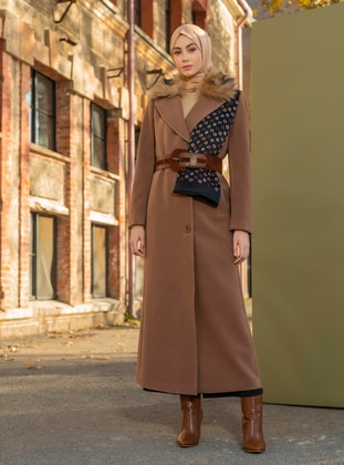 Tan - Fully Lined - V neck Collar - Wool Blend - Coat