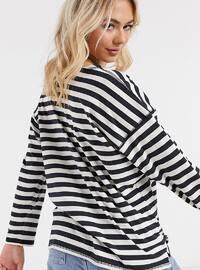 - Crew neck - Stripe - White - Black - Sweat-shirt